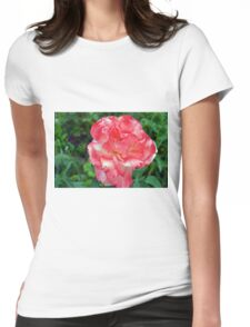 Macro on beautiful pink flower in the garden. Womens Fitted T-Shirt