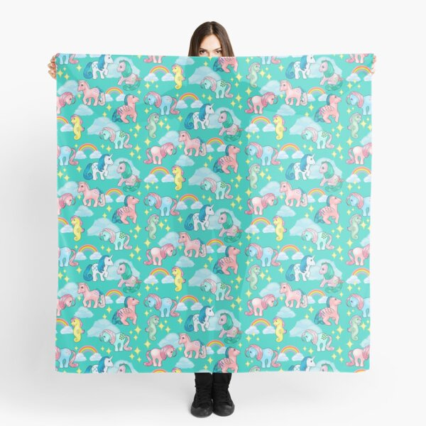 Magical 80s ponies and rainbows - sea foam Scarf