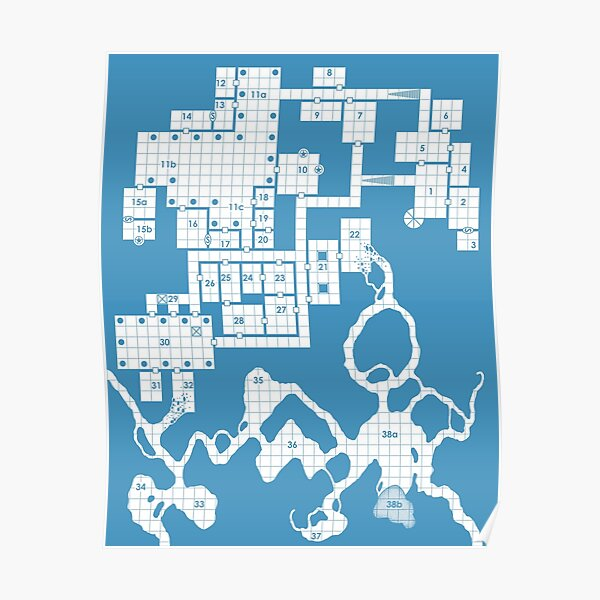 Old School Blue Dungeon Map #2 Poster