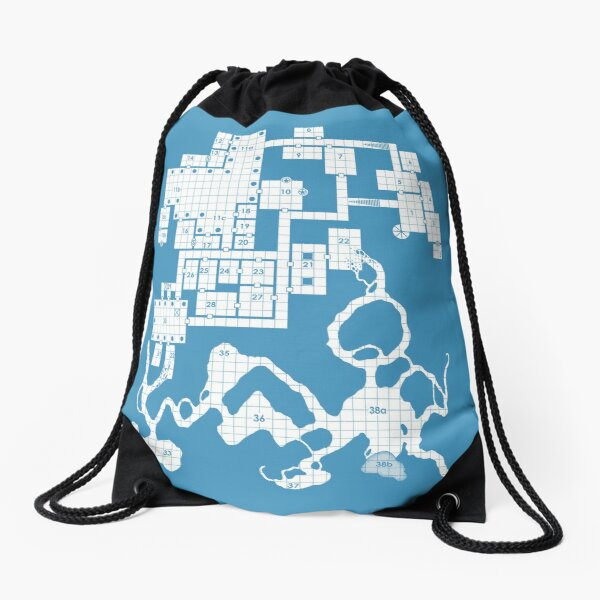 Old School Blue Dungeon Map #2 Drawstring Bag