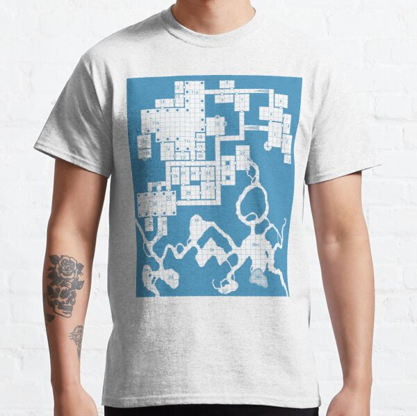 Old School Blue Dungeon Map #2 Classic T-Shirt