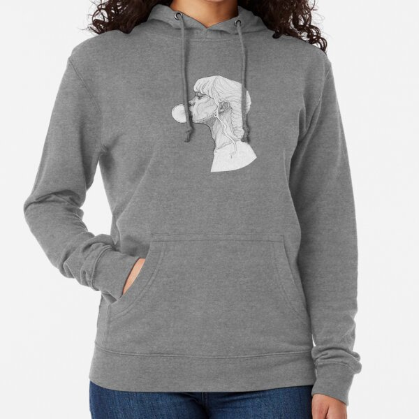 Girl with a Bubble Gum - Monochromatic Pencil Line Sketch - Drawing by MadliArt Lightweight Hoodie