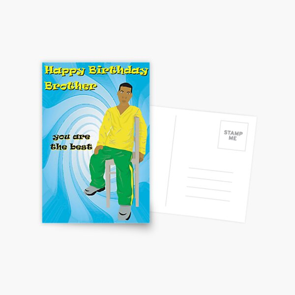 African American Chilling Brother Birthday Card (bhm006) Postcard