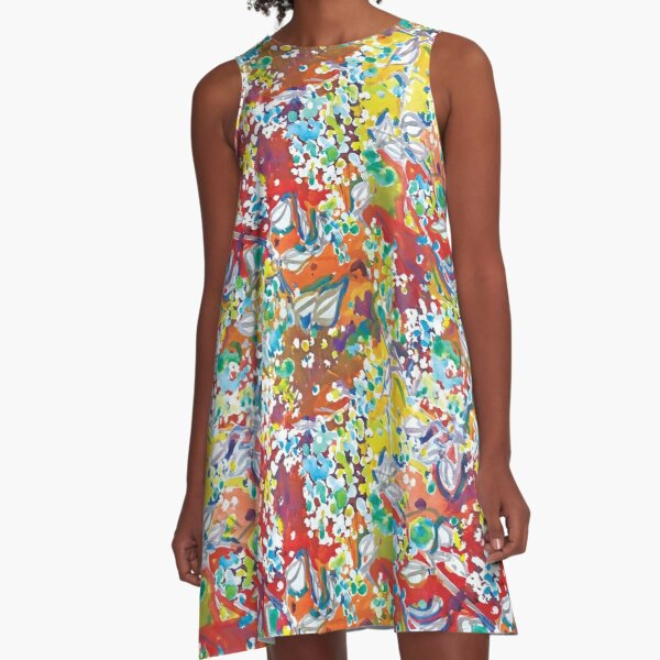 Queen Anne's Lace Abstract Watercolor Painting  A-Line Dress