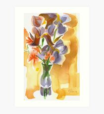 Irises with Stars of Bethlehem Watercolor Art Print
