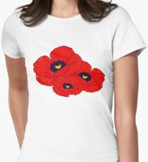 Poppy White Women's Fitted T-Shirt