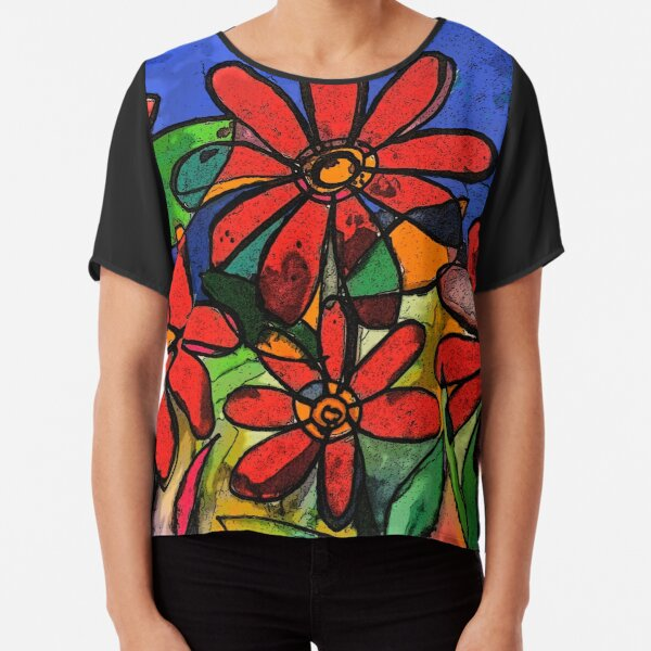 Stained Glass Flowers  Chiffon Top