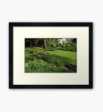Gardening Delights - Vigorous Greens and Blooming Peonies Framed Print