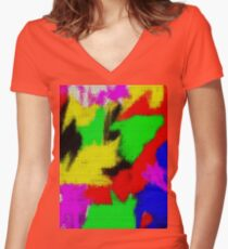 oil pastel Women's Fitted V-Neck T-Shirt