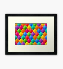 Colorful Geometric Diamond Pattern Framed Print