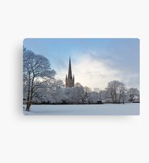Norwich Cathedral in the Snow Canvas Print
