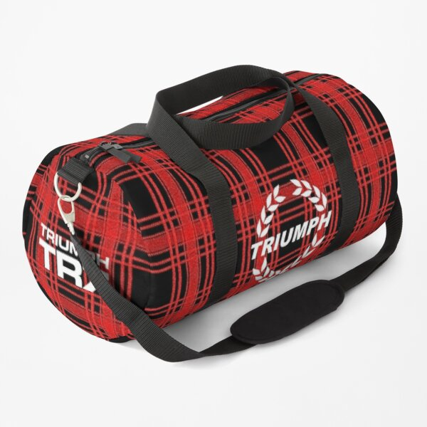 Triumph TR7 Duffle Bag - Red on black check - Laurel Logo with text Duffle Bag