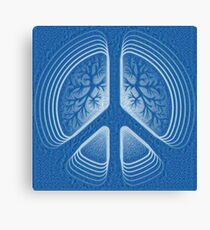 Blue Hippy Peace Sign Canvas Print