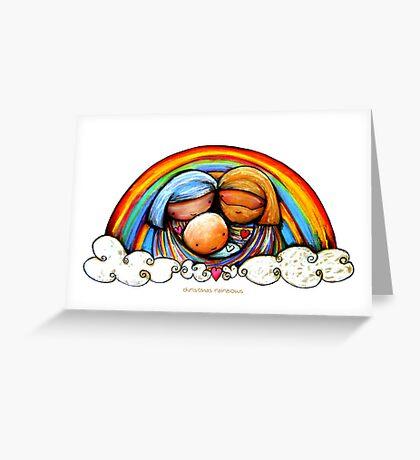 Christmas Rainbows Nativity  Greeting Card