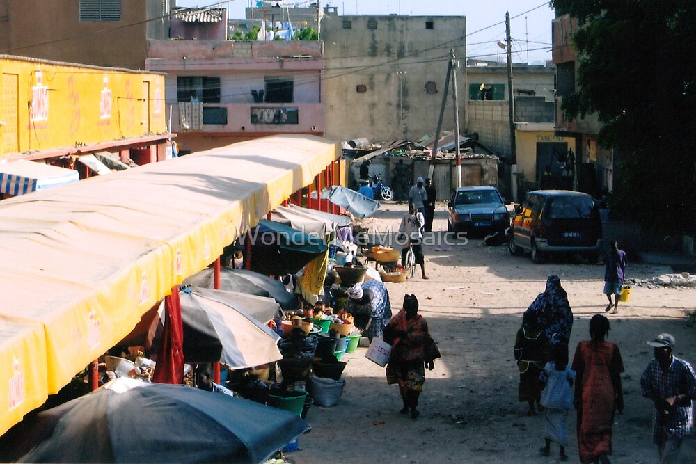 African market - Print by WonderMeMosaics