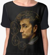 Tenth Doctor with Gallifreyan, Doctor Who Chiffon Top