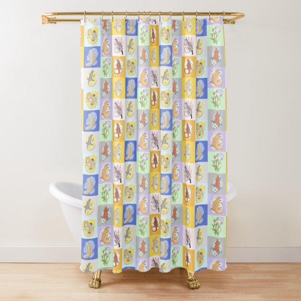 Collage of beardie art Shower Curtain