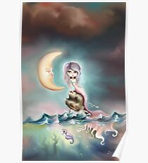 Melancholy Mermaid by the Light of the Sleeping Moon Poster