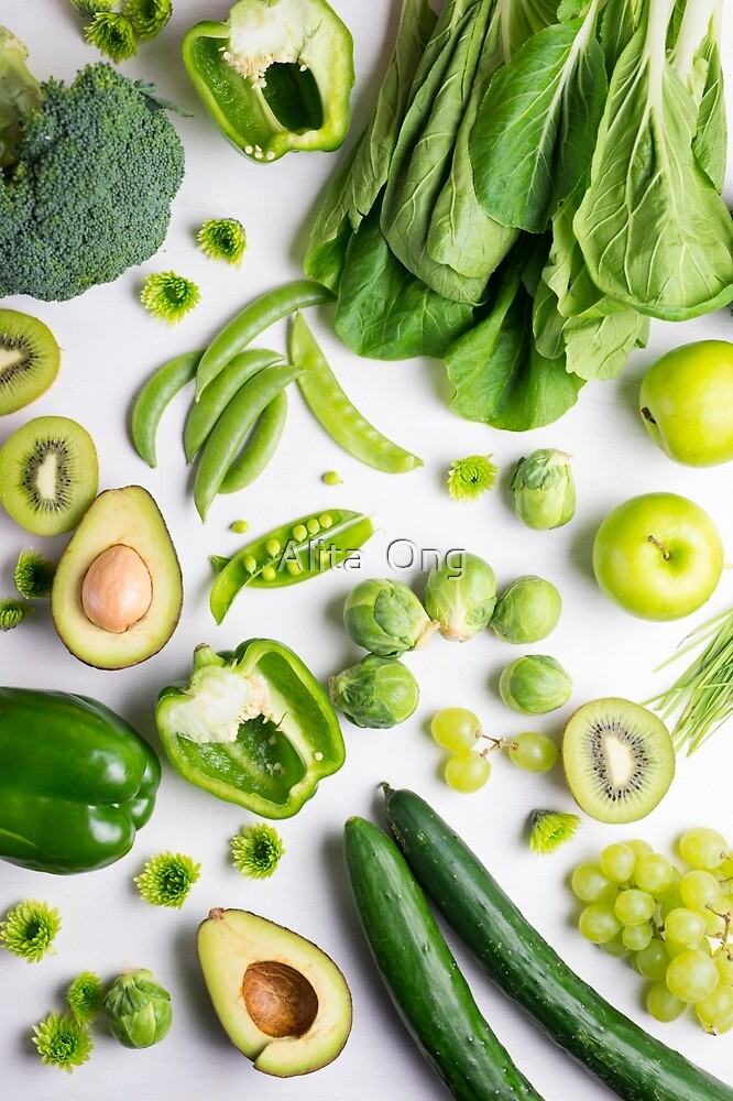 Green food on white by Alita  Ong