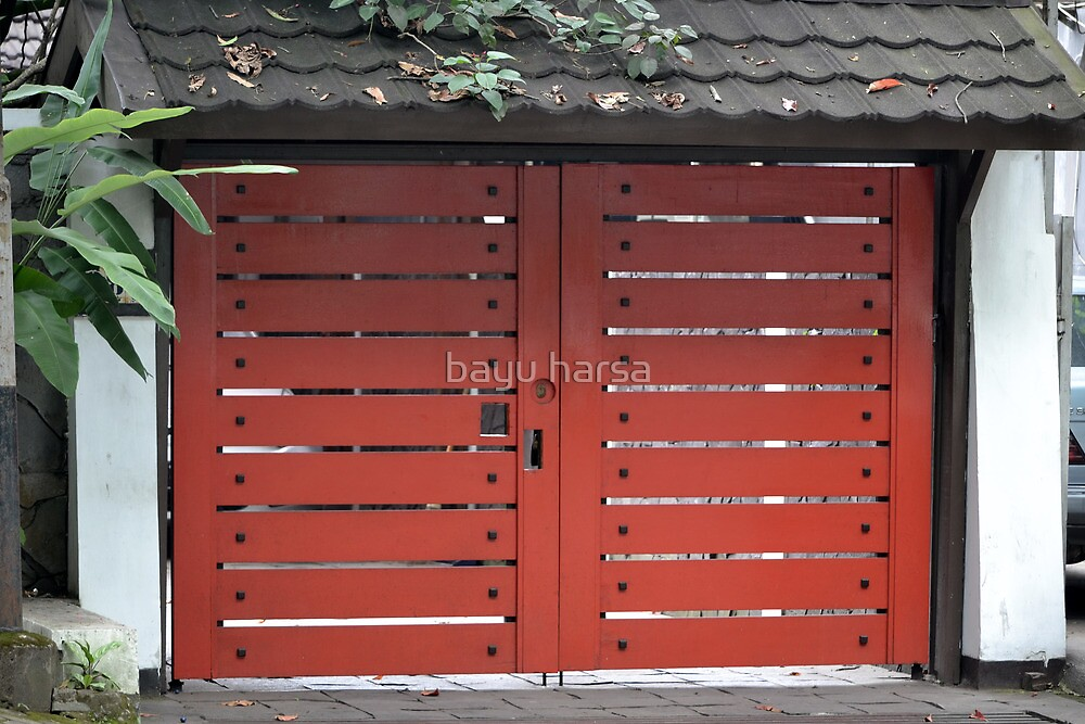 red wooden gate by bayu harsa