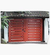 red wooden gate Poster