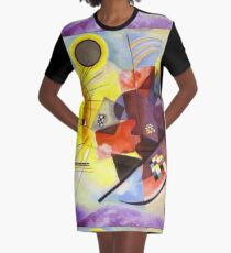 Yellow Red Blue Graphic T-Shirt Dress