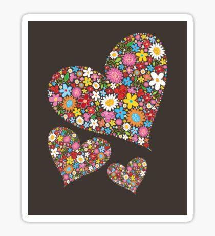 Whimsical Spring Flowers Valentine Hearts Trio Sticker