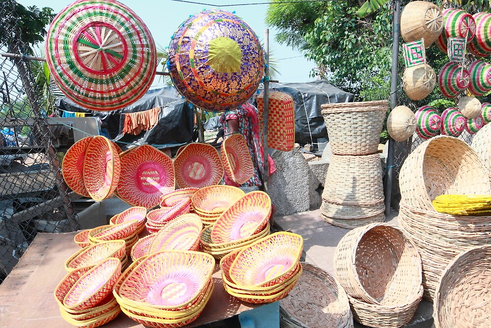 Colorful Baskets Hyderabad India by Andrew  Makowiecki