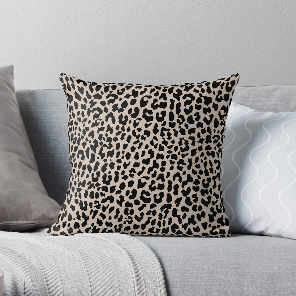 Tan Leopard Throw Pillow By Marynesrala Redbubble