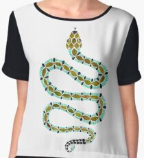 Turquoise Serpent Chiffon Top