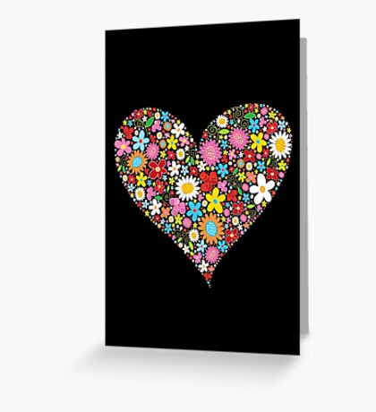 Whimsical Spring Flowers Red Valentine Heart Greeting Card