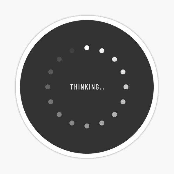 Thinking-Loading Icon (Charcoal Edition) Sticker