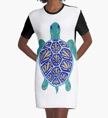 Sea Turtle – Navy & Gold Graphic T-Shirt Dress
