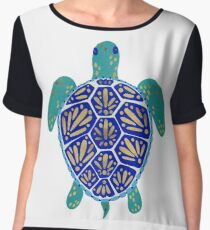 Sea Turtle – Navy & Gold Chiffon Top