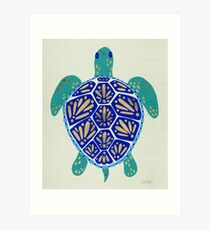 Sea Turtle – Navy & Gold Art Print