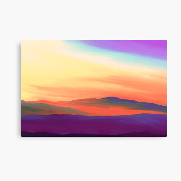 Peaceful Landscape in Purple and Yellow Colors Canvas Print