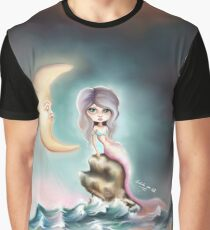 Melancholy Mermaid by the Light of the Sleeping Moon Graphic T-Shirt