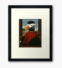 Birders Rule - Tufted Puffin in Red Framed Print