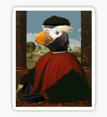Birders Rule - Tufted Puffin in Red Sticker