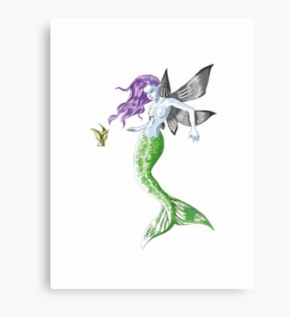 Colourful Mythical Winged Mermaid Metal Print
