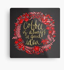 Coffee on Charcoal Metal Print
