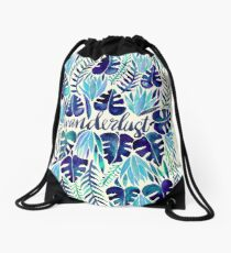 Tropical Wanderlust – Blue Drawstring Bag