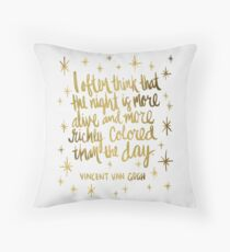 Night Owl – Gold Throw Pillow