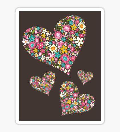 Whimsical Spring Flowers Pink Valentine Hearts Quartet Sticker