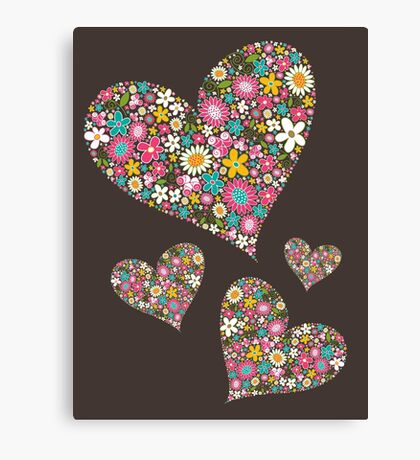 Whimsical Spring Flowers Pink Valentine Hearts Canvas Print