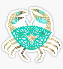 Crab – Turquoise & Gold Sticker