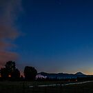 Sunset on the Two Bulls fire by Richard Bozarth