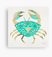 Crab – Turquoise & Gold Canvas Print