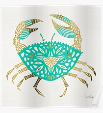Crab – Turquoise & Gold Poster