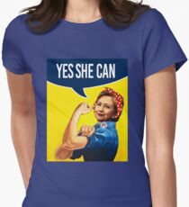 YES SHE CAN - Hillary the Riveter Fitted T-Shirt
